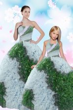 Flirting Sequins Pick Ups Floor Length Ball Gowns Sleeveless Multi-color 15th Birthday Dress Lace Up