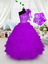 Fashionable Fuchsia Little Girls Pageant Dress Party and Wedding Party with Appliques and Ruffles One Shoulder Short Sleeves Lace Up