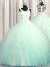 Best Big Puffy Zipper Up V-neck Sleeveless Tulle Quinceanera Dresses Beading and Appliques Brush Train Zipper