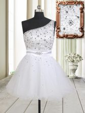 Unique Tulle One Shoulder Sleeveless Zipper Beading Dress for Prom in White