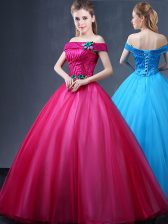 Fuchsia Tulle Lace Up Off The Shoulder Sleeveless Floor Length 15th Birthday Dress Beading and Appliques