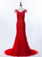 Popular Mermaid Scoop Cap Sleeves Lace Brush Train Zipper Prom Dress in Red with Beading and Appliques