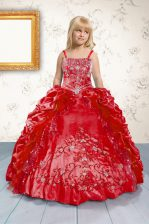 Red Sleeveless Beading and Appliques and Pick Ups Floor Length Child Pageant Dress