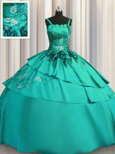 Popular Beading and Embroidery Quinceanera Gowns Turquoise Lace Up Sleeveless Floor Length