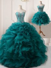 Customized Floor Length Peacock Green Prom Gown Sweetheart Sleeveless Lace Up