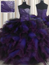 Latest Beading and Ruffles Quinceanera Gowns Multi-color Lace Up Sleeveless Floor Length