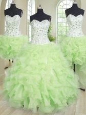 Four Piece Yellow Green Organza Lace Up Quinceanera Dress Sleeveless Floor Length Beading and Ruffles