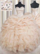 Custom Fit Sleeveless Lace Up Floor Length Beading and Ruffles and Pick Ups Sweet 16 Dress