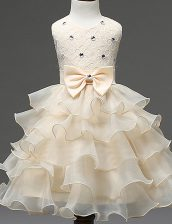 New Arrival Scoop Beading and Ruffled Layers Flower Girl Dresses for Less Champagne Zipper Sleeveless Mini Length