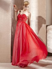 Modest Floor Length Coral Red Prom Evening Gown Sweetheart Sleeveless Side Zipper