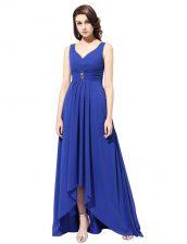 Royal Blue Chiffon Zipper V-neck Sleeveless With Train Dress for Prom Brush Train Ruching