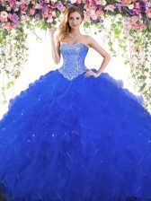 Customized Sweetheart Sleeveless Tulle Ball Gown Prom Dress Beading Lace Up