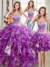 Suitable Three Piece Purple Ball Gowns Beading and Ruffles and Sequins Quince Ball Gowns Lace Up Organza Sleeveless Floor Length