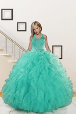 Halter Top Beading and Ruffles Kids Formal Wear Turquoise Lace Up Sleeveless Floor Length