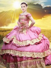 Best Off The Shoulder Sleeveless Taffeta 15 Quinceanera Dress Lace and Appliques and Pick Ups Lace Up