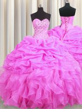 Rose Pink Organza Lace Up Sweet 16 Dresses Sleeveless Floor Length Beading and Ruffles and Pick Ups