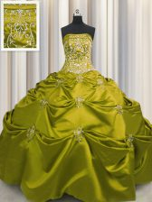 Stylish Olive Green Sleeveless Floor Length Beading and Appliques and Embroidery Lace Up Vestidos de Quinceanera