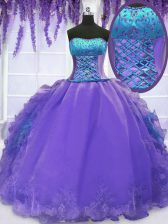 Strapless Sleeveless Lace Up 15 Quinceanera Dress Lavender Organza