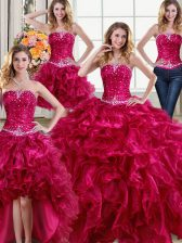 Admirable Four Piece Sleeveless Lace Up Floor Length Beading and Ruffles Quinceanera Gown