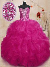 Fuchsia Sweetheart Lace Up Beading and Ruffles Quinceanera Dress Sleeveless