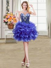 Suitable Blue Ball Gowns Organza Sweetheart Sleeveless Beading and Ruffles Mini Length Lace Up Evening Dress