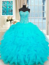 Cute Baby Blue Ball Gowns Strapless Sleeveless Organza Floor Length Lace Up Beading and Ruffles 15th Birthday Dress
