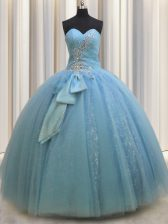 Sequins Bowknot Sweetheart Sleeveless Lace Up Sweet 16 Dress Baby Blue Tulle