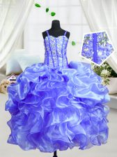 Admirable Floor Length Baby Blue Little Girl Pageant Gowns Organza Sleeveless Beading and Ruffles