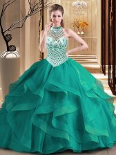 Halter Top Dark Green Sleeveless Brush Train Beading and Ruffles With Train Quinceanera Dresses
