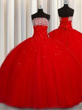 Puffy Skirt Red Organza Lace Up Strapless Sleeveless Floor Length Sweet 16 Dresses Beading and Sequins