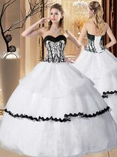 Ruffled Floor Length White Quinceanera Dress Sweetheart Sleeveless Lace Up