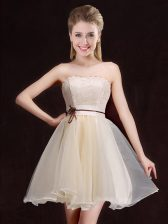 Nice Mini Length Champagne Dama Dress for Quinceanera Strapless Sleeveless Lace Up