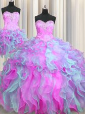 Decent Three Piece Ball Gowns Sleeveless Multi-color Vestidos de Quinceanera Lace Up