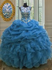 Scoop Sleeveless Lace Up Floor Length Beading and Ruffles and Pick Ups Vestidos de Quinceanera