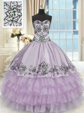 Dynamic Lavender Sweetheart Lace Up Beading and Embroidery and Ruffled Layers Vestidos de Quinceanera Sleeveless