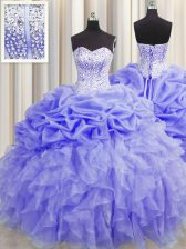 Visible Boning Lavender Ball Gowns Sweetheart Sleeveless Organza Floor Length Lace Up Beading and Ruffles and Pick Ups Quinceanera Gowns