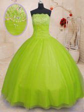 Ball Gowns 15th Birthday Dress Yellow Green Strapless Tulle Sleeveless Floor Length Lace Up