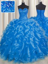 Sleeveless Organza Floor Length Lace Up Ball Gown Prom Dress in Blue with Beading and Ruffles