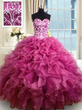 Custom Fit Sweetheart Sleeveless Organza Quinceanera Dress Beading and Ruffles Lace Up