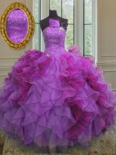 Custom Design Sleeveless Organza Floor Length Lace Up 15 Quinceanera Dress in Multi-color with Beading and Ruffles