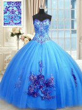Sweetheart Sleeveless Sweet 16 Quinceanera Dress Floor Length Beading and Appliques and Embroidery Blue Tulle