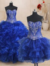 Three Piece Sweetheart Sleeveless Organza Quinceanera Gowns Beading and Ruffles Brush Train Lace Up