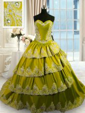 Olive Green Sweetheart Lace Up Beading and Appliques and Ruffled Layers 15 Quinceanera Dress Court Train Sleeveless