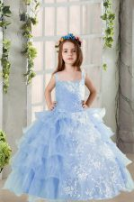 Ruffled Spaghetti Straps Long Sleeves Lace Up Girls Pageant Dresses Baby Blue Organza