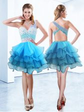 Captivating One Shoulder Organza Sleeveless Knee Length Evening Dress and Beading and Ruffled Layers