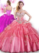 Fantastic Sleeveless Organza Floor Length Lace Up Sweet 16 Dress in Coral Red with Beading and Appliques