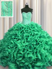 Visible Boning Turquoise Lace Up 15 Quinceanera Dress Beading and Ruffles Sleeveless Floor Length