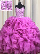Visible Boning Fuchsia Sweetheart Lace Up Beading and Ruffles Sweet 16 Quinceanera Dress Brush Train Sleeveless
