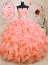Pink Vestidos de Quinceanera Military Ball and Sweet 16 and Quinceanera with Beading and Ruffles Sweetheart Sleeveless Lace Up