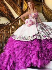 Pink And White Organza Lace Up Sweet 16 Dresses Sleeveless Floor Length Appliques and Embroidery